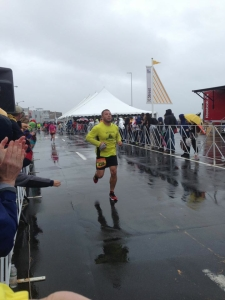 Carlos finishing his first marathon.  Goal was to break 4:30.  Finished in 4:28!
